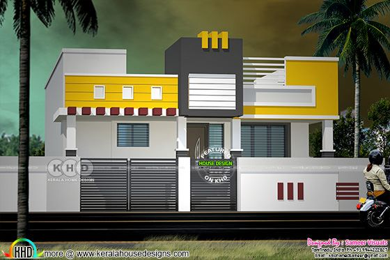 Modern South Indian style single floor home