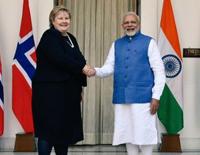 Sushma Swaraj Meets Norwegian Prime Minister Erna Solberg