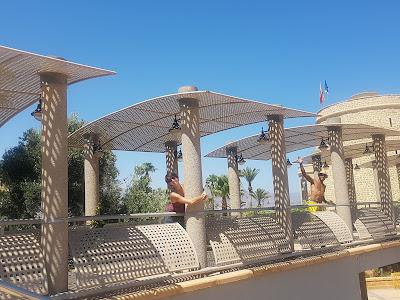 Cool bridge crossing over a theater next to the castle in Roquetas de Mar