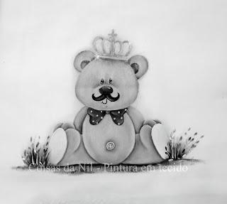 desenho de ursinho principe com bigode para pintar em fraldas