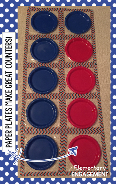 Use plastic, Duck Tape, and paper plates to make a giant 10 frame!  This is great for tactile learners.