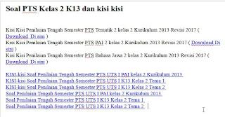 Soal PTS Kelas 2 K13 dan kisi kisi