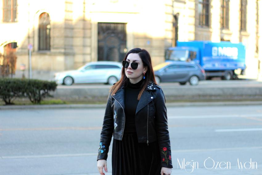 alışveriş-Nakışlı Deri Ceket ve Siyah Kadife Pileli Etek-moda blogu-fashion blogger
