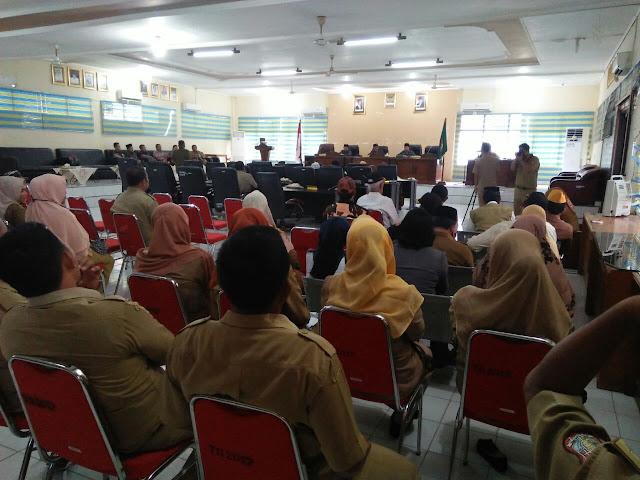 Suasana rapat paripurna istimewa DPRD tentang penyampaian rekomendasi DPRD terhadap LKPJ Walikota Tanjungbalai Akhir Tahun Anggaran 2017.