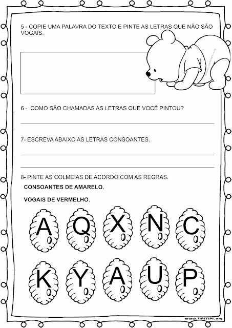 Atividade com textinho para trabalhar Vogais e Consoantes em turmas de Primeiro Ciclo