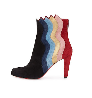 Christian Louboutin Wavy Colourblock Suede Red Sole Boot