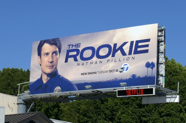 Nathan Fillion Rookie series launch billboard