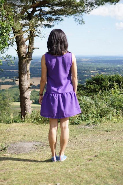 Self-drafted dropped waist purple dress back