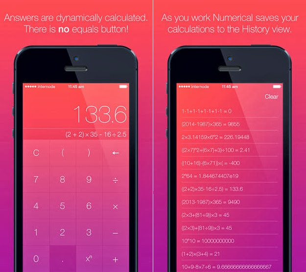 Simple Calculator iPad & iPhone App 'Numerical' Made free
