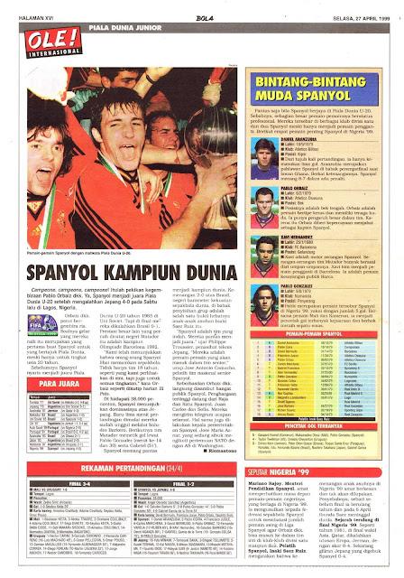 JUNIOR WORLD CUP 1999 SPAIN WINNER