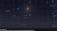 Koniunkcja Marsa we wielkiej opozycji z Księżycem pod koniec fazy całkowitego zaćmienia 27.07.2018 r. o godz. 23:13 CEST - Mapa dla Rzeszowa
