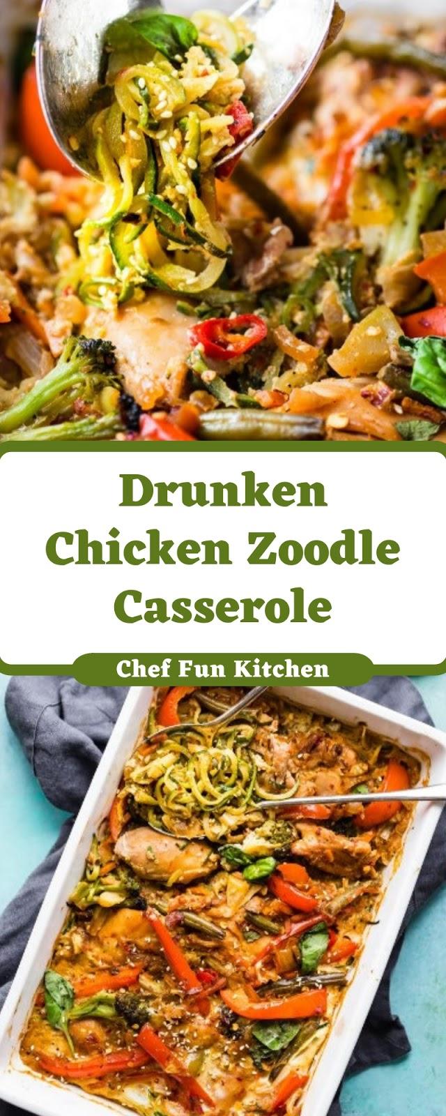 Drunken Chicken Zoodle Casserole