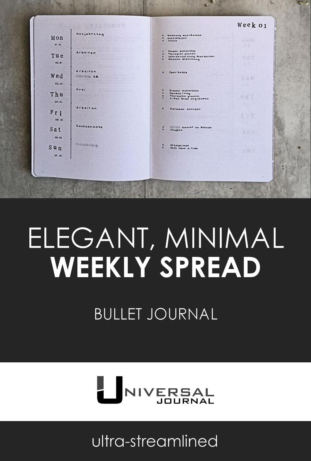 bullet journal weekly spread minimalist elegant