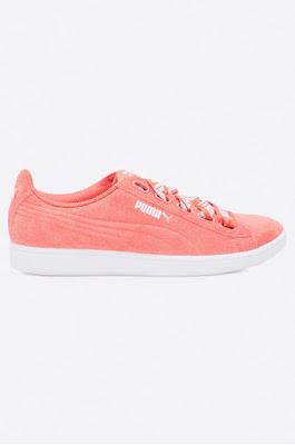 Puma - Pantofi Vikky Ribbon de femi roz din piele naturala intoarsa