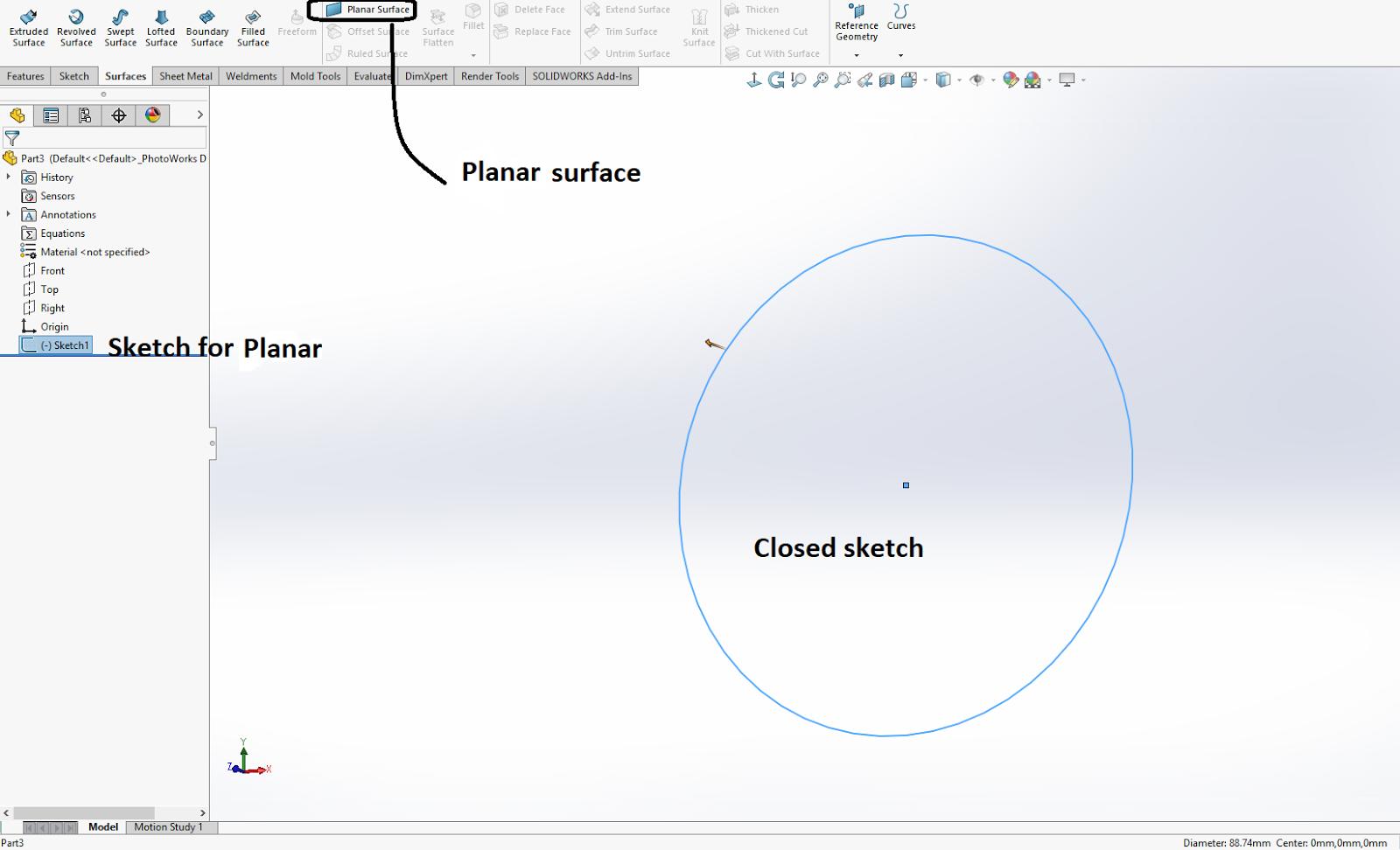 Design Tech Academy: Planar Surface: In SolidWorks