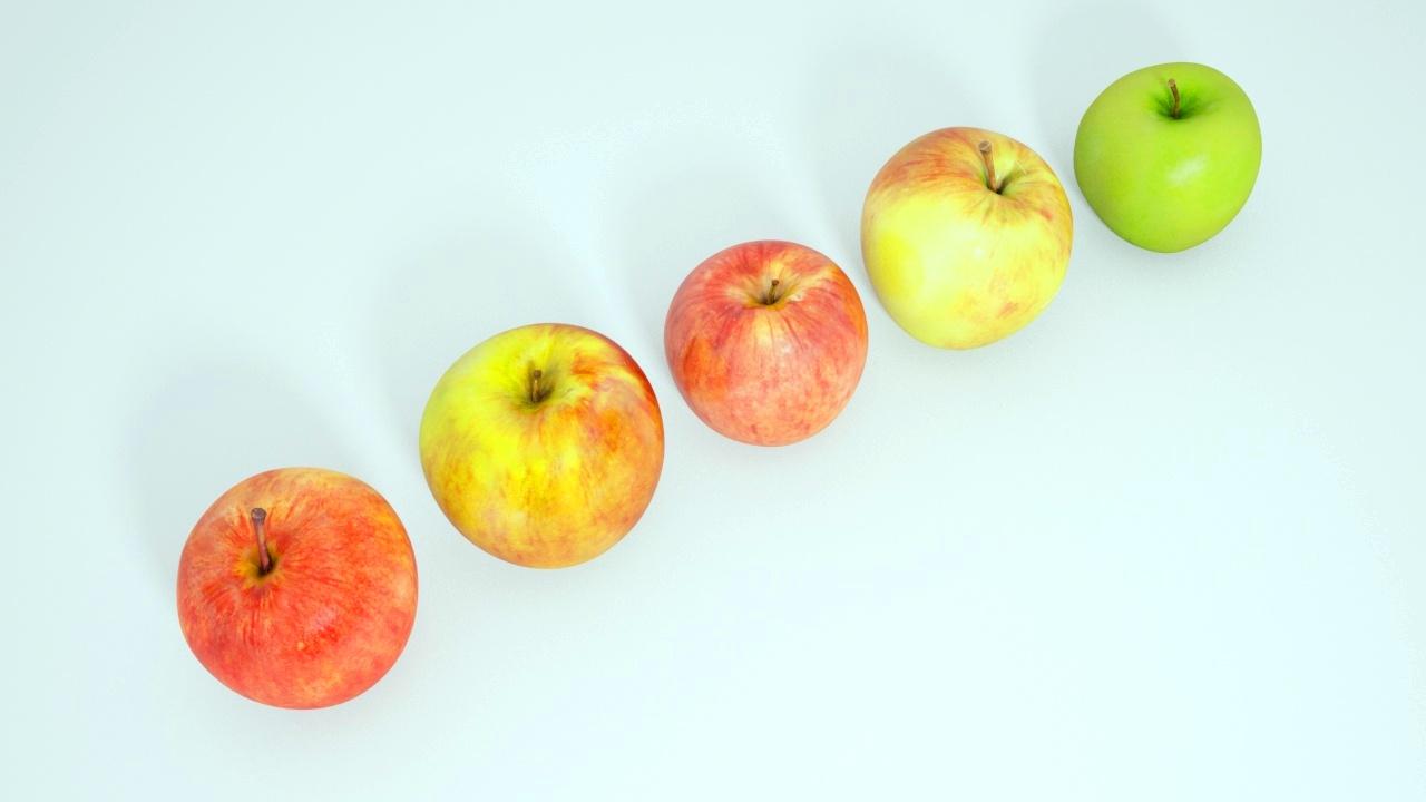 Unduh gratis 5 gambar 3D Apple CG varitas yang berbeda