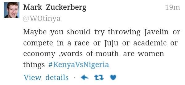 "Lol. See how ""Mark Zuckerberg"" responded to #KenyaVsNigeria Twitter war"