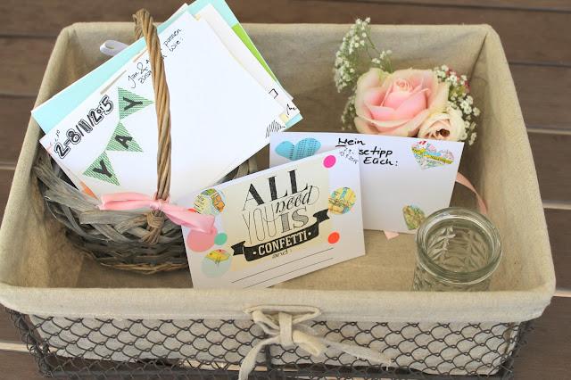 Hochzeitsgeschenk Korb Postkarten