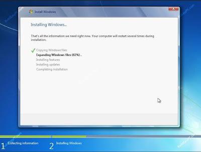 Windows 7 starts the installation process
