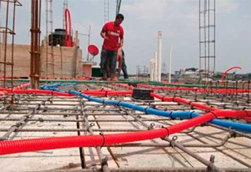 Instalaciones eléctricas residenciales - Tubo conduit azul para telecomunicaciones