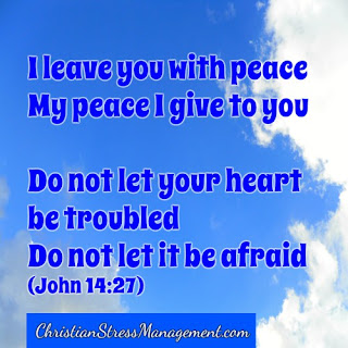 I leave you with peace. My peace I give to you. Do not let your heart be troubled. Do not let it be afraid. (John 14:27)