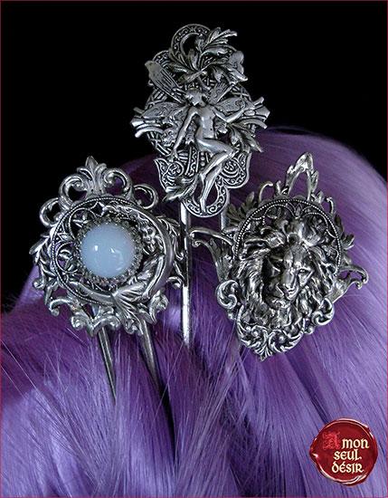 pic à cheveux médiéval fantasy elfique féerique pierre de lune opale tête de lion Aslan Lannister Fée Magie Blanche Bijoux Cheveux coiffure