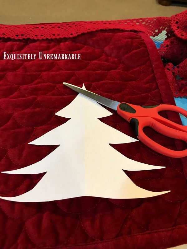 Christmas Tree Paper Pattern And Scissors