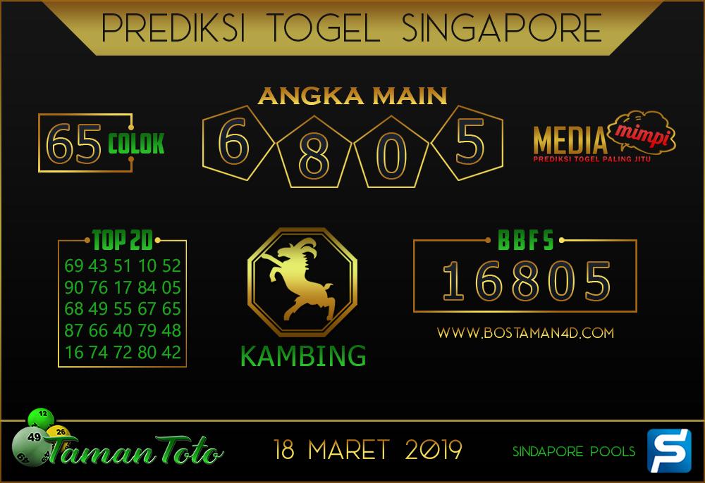 Prediksi Togel SINGAPORE TAMAN TOTO 18 MARET 2019