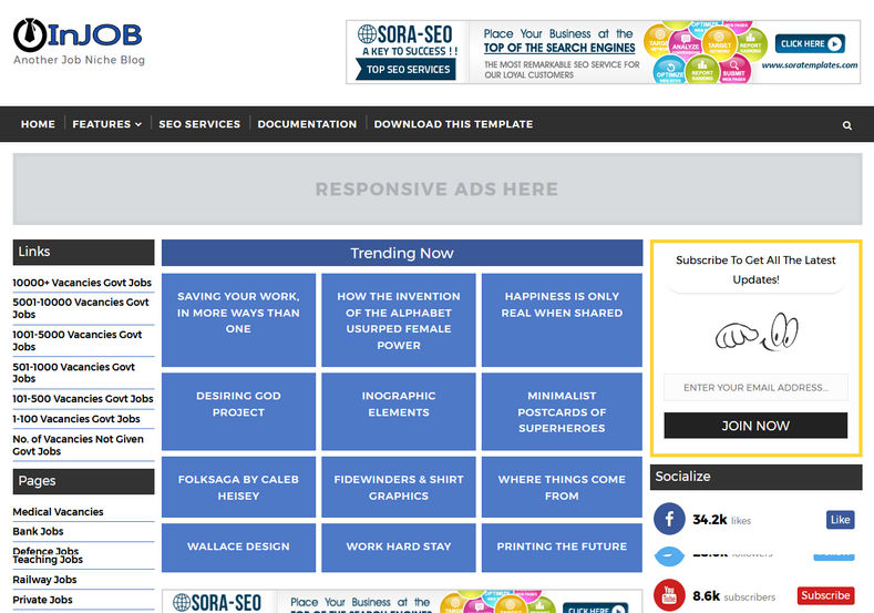 High quality free blogger templates injob blogger template pronofoot35fo Choice Image