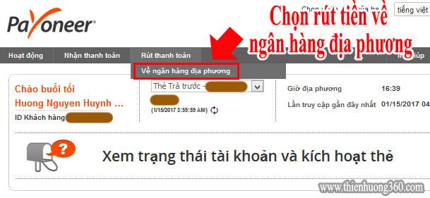 Hướng dẫn rút tiền từ Payoneer về ngân hàng Việt Nam