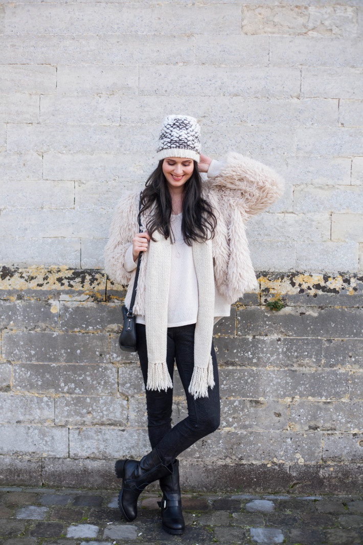 Outfit: cream coloured shaggy faux fur with biker boots