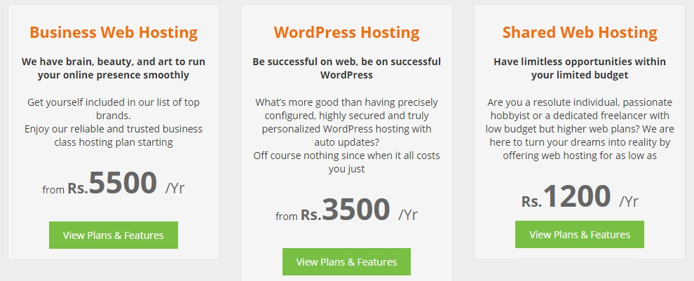 CreativeON Web Hosting Plans.