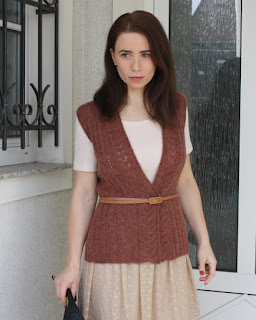 lace knitted sleeveless vest Craftrebella size M orange-brown