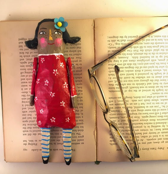 Sarah Hand, Etsy, Paper Mache, Doll, Hearts and Needles