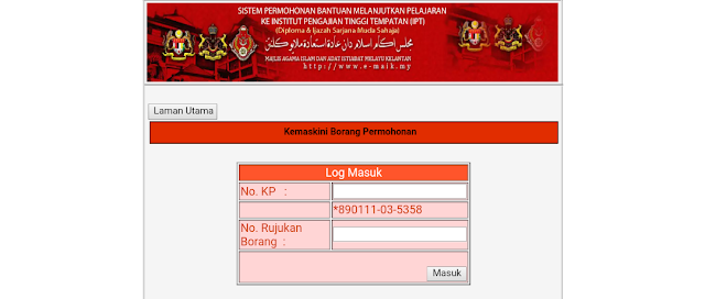 Permohonan Bantuan IPT MAIK 2018 Online