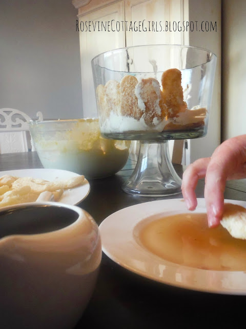 Placing the ingredients for tiramisu in the bowl