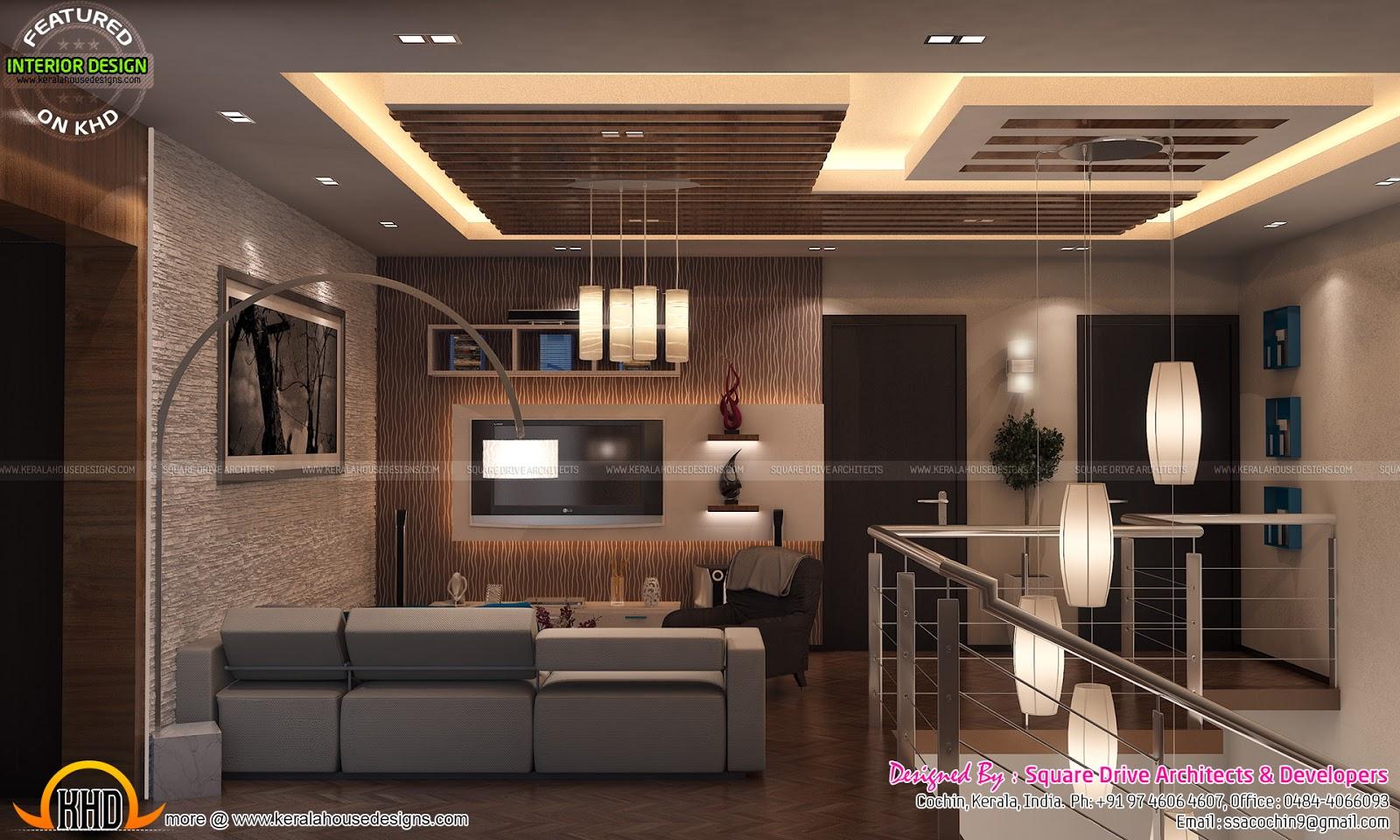 Stair Area Upper Living Bedroom Interiors Kerala Home