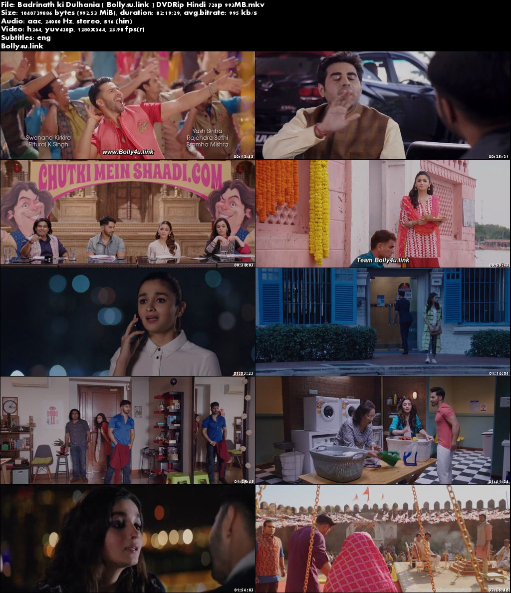 Badrinath Ki Dulhania 2017 DVDRip 400MB Hindi 480p ESub Download