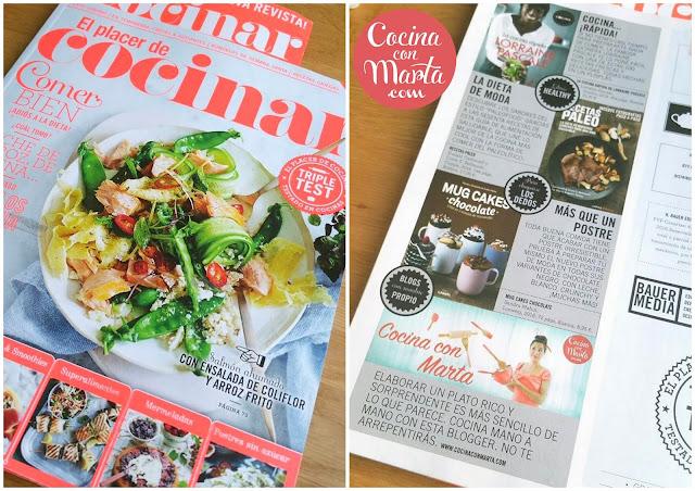 Cocina con Marta, revista El placer de cocinar, mención, recetas,