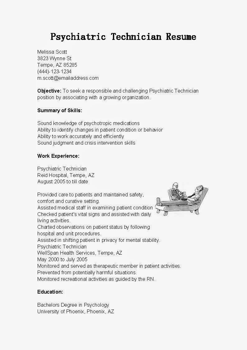 psychology technician resume sample