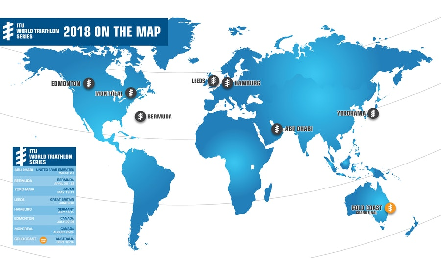 Mapa pruebas ITU World Triathlon Series 2018