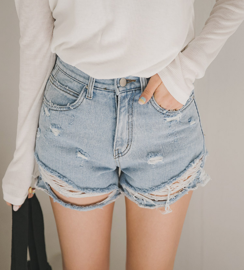 Damaged Faded Denim Shorts
