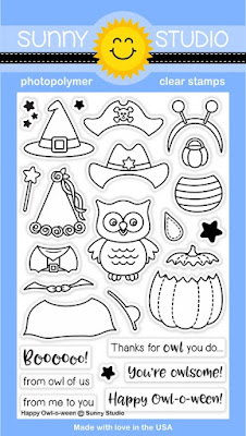 Sunny Studio Stamps: Introducing Happy Owl-O-Ween Halloween Costume 4x6 Photopolymer Clear Stamp set