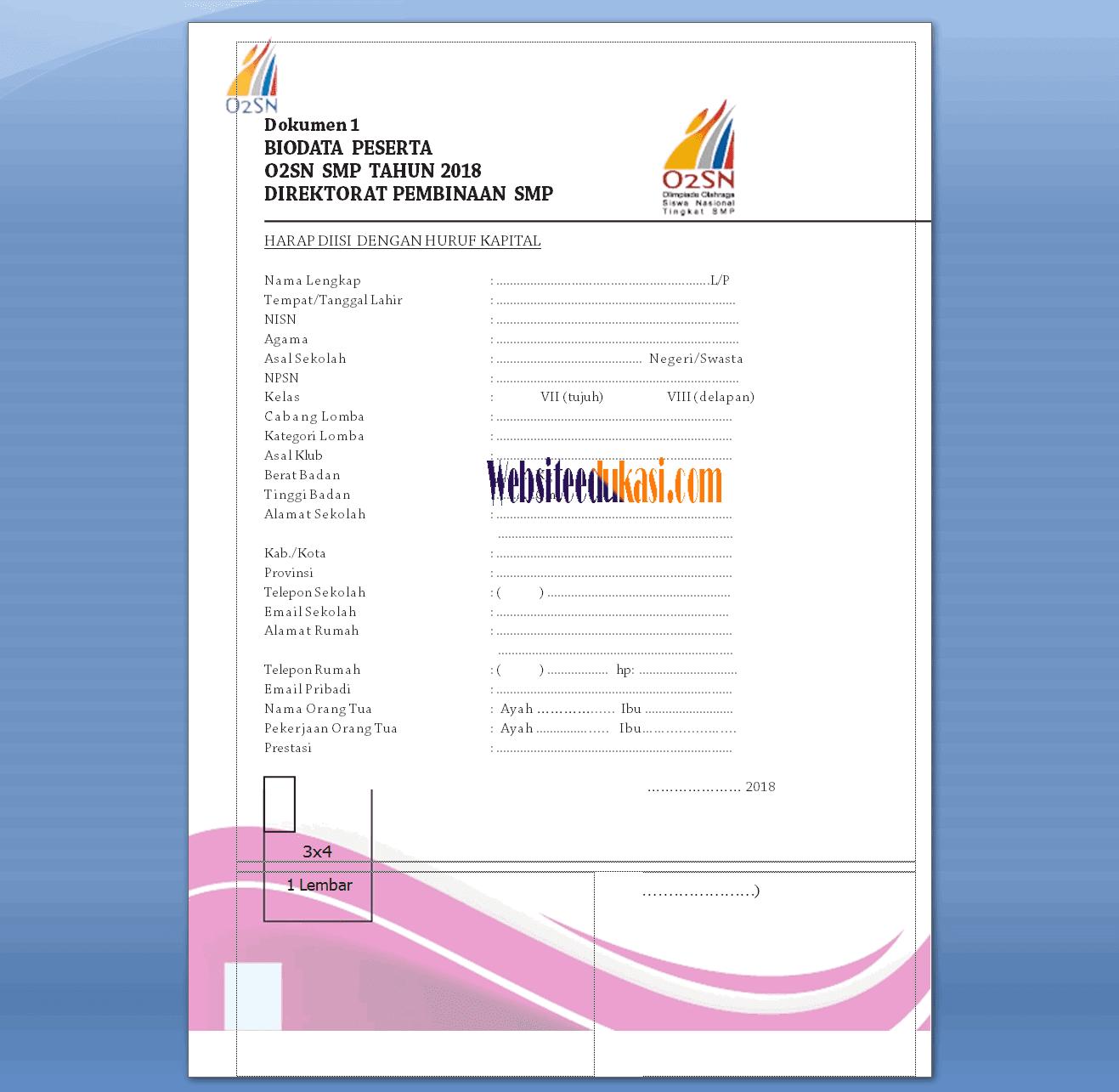 Biodata Peserta O2sn Terbaru 2018