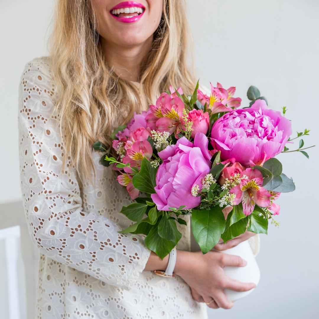 Bouquet fleurs roses interflora
