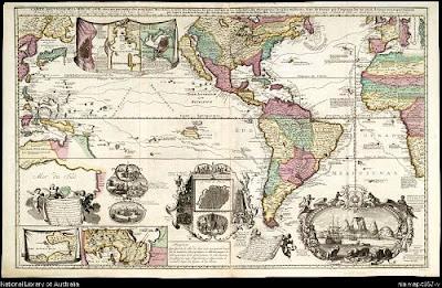 Mapa cartográfico del Océano Pacífico, del siglo XVIII.