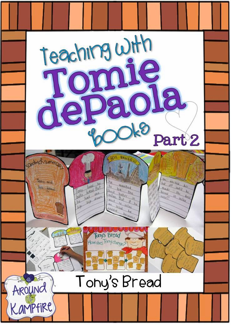 Teaching with Tomie dePaola books Part 2 in the series: Tony's Bread on around the Kampfire blog with FREE summary writing tool
