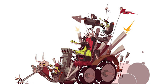 stuff. (by ido yehimovitz): the Crocomites road gang and their War-Rig.