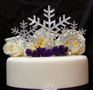 snowflake crystal winter themed swarovski wedding cake topper