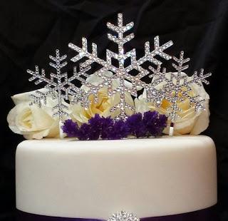 snowflake crystal winter themed swarovski wedding cake topper